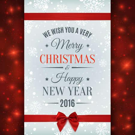 caes: Feliz Navidad y Feliz Año Nuevo etiqueta de texto sobre un fondo de invierno con el arco rojo, cinta, la nieve y los copos de nieve. Plantilla de la tarjeta. Ilustración del vector. Vectores