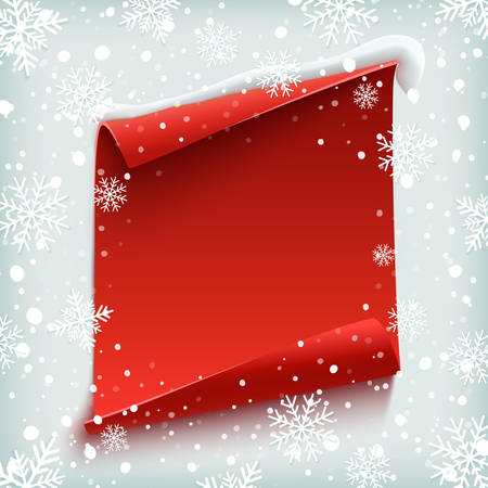 Blank Christmas background, greeting card template. Red, curved, paper banner on winter background with snow and snowflakes. Vector illustration.