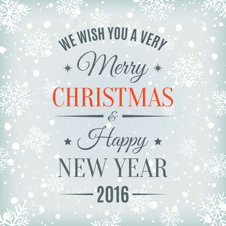 caes: Feliz Navidad y Feliz Año Nuevo etiqueta de texto sobre un fondo de invierno con la nieve y los copos de nieve. Plantilla de la tarjeta. Ilustración del vector.