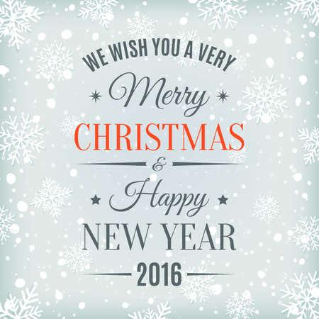 nowy: Wesołych Świąt i Szczęśliwego Nowego Roku tekst etykiety na tle zimy ze śniegiem i śniegu. Powitanie szablon karty. ilustracji wektorowych.