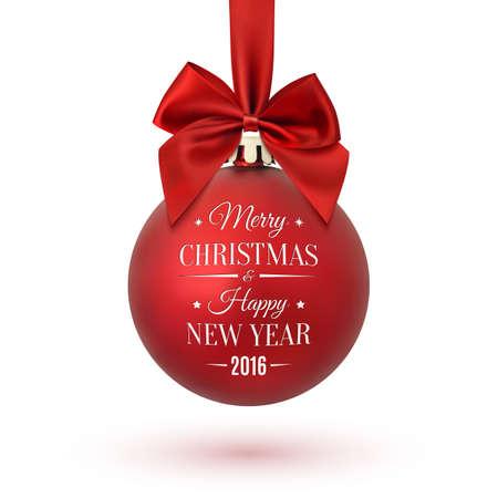 pelota: bola de Navidad con cinta y un arco, aislado sobre fondo blanco. Feliz navidad y pr�spero a�o nuevo. Ilustraci�n del vector. Vectores