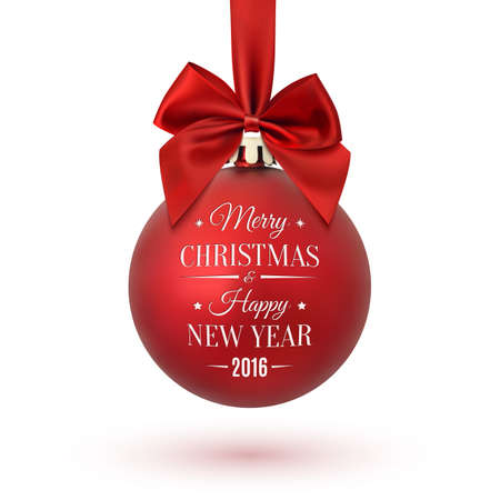 christmas wishes: Red Christmas ball with ribbon and a bow, isolated on white background. Merry Christmas and Happy New Year. Vector illustration.