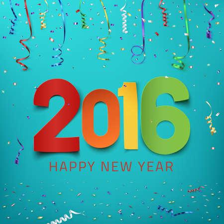 fondo para tarjetas: Feliz A�o Nuevo 2016. Tipo de papel colorido en el fondo con cintas y confeti. Plantilla de la tarjeta. Ilustraci�n del vector.