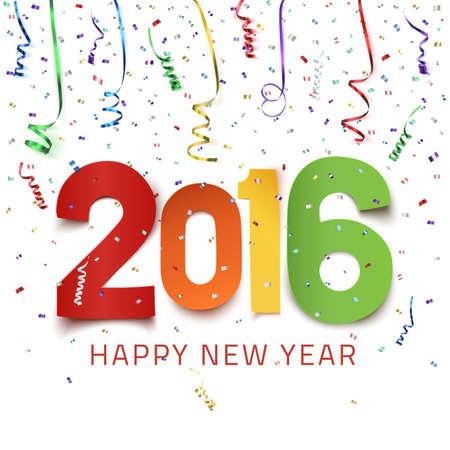 happy new year: Frohes Neues Jahr 2016. Bunte Papiertyp auf den Hintergrund mit Bändern und Konfetti auf weiß. Grußkartenschablone. Vektor-Illustration.