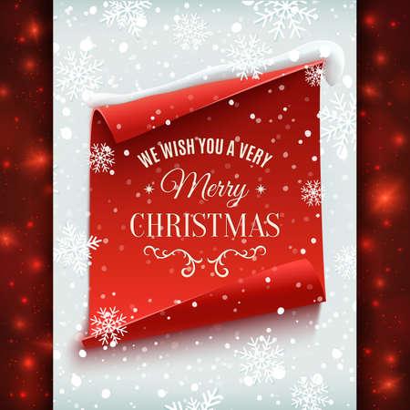 caes: Le deseamos una tarjeta muy Feliz Navidad, saludo. Rojo, curva, bandera de papel en el fondo de invierno con la nieve y los copos de nieve. Ilustración del vector.