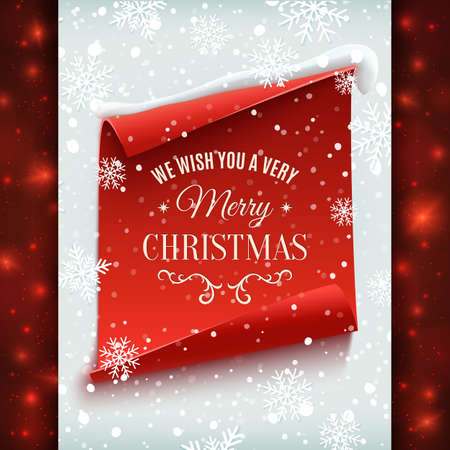 winter wish: We wish you a very Merry Christmas, greeting card. Red, curved, paper banner on winter background with snow and snowflakes. Vector illustration.