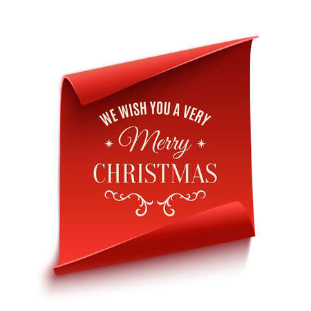 scroll background: We wish you a very Merry Christmas, greeting card template. Red, curved, paper banner isolated on white background. Vector illustration.