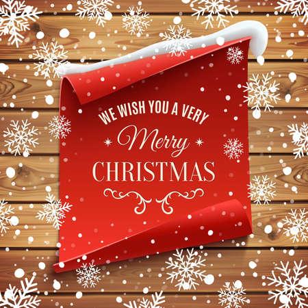 copo de nieve: Le deseamos una tarjeta muy Feliz Navidad, saludo. Rojo, curvado, la bandera de papel en tablones de madera con nieve y copos de nieve. Ilustración del vector.