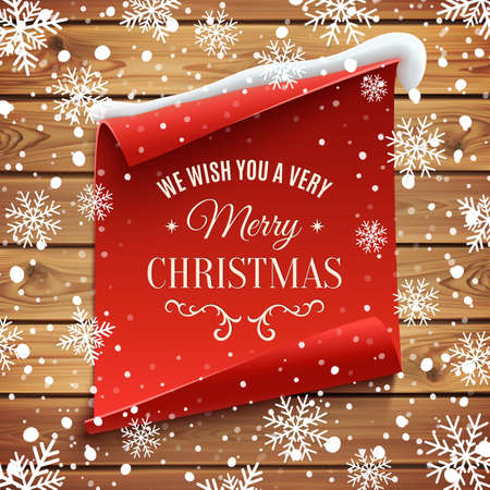 red snowflake background: We wish you a very Merry Christmas, greeting card. Red, curved, paper banner on wooden planks with snow and snowflakes. Vector illustration.
