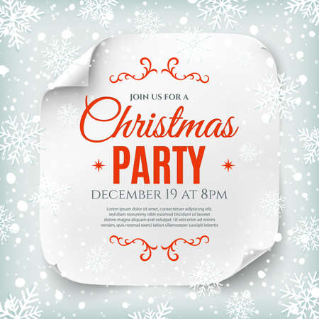 parties: Christmas party poster template with snow and snowflakes. Christmas background. White, curved, paper banner.