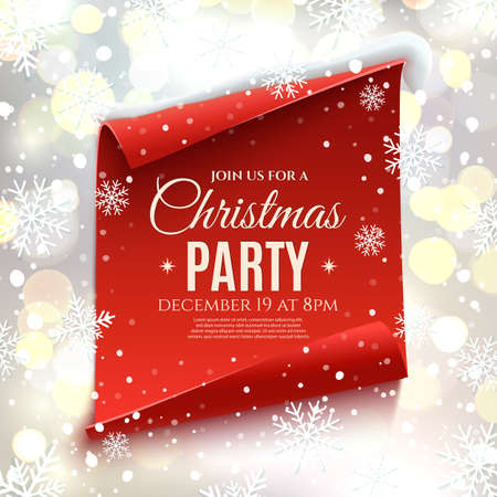Christmas party invitation. Red, curved, paper banner on winter background with snow and snowflakes. Bokeh circles.