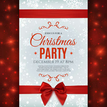red ribbon bow: Christmas party poster template with snow and snowflakes. Christmas background with red ribbon and bow.