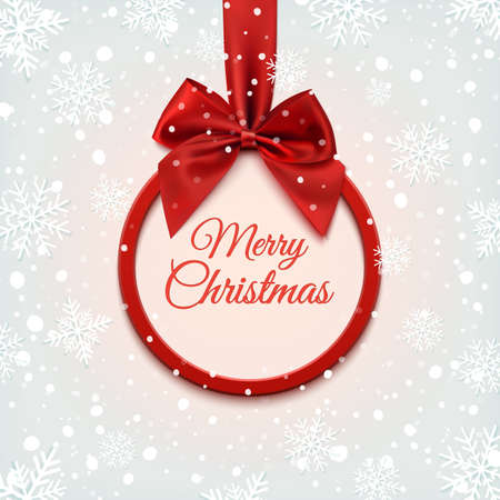 xmass: Merry Christmas round banner with red ribbon and bow, on winter background with snow and snowflakes. Greeting card template. Illustration