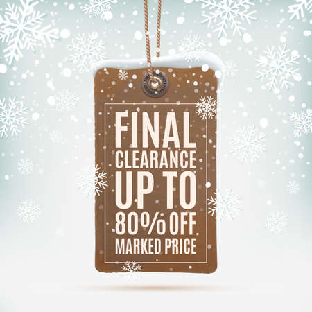 final: Final clearance. Realistic, vintage price tag on winter background with snow and snowflakes.