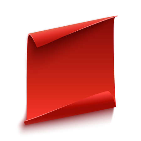 Red curved paper scroll, isolated on white background.