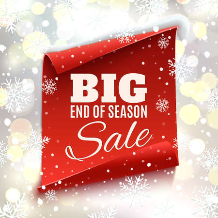 christmas promotion: Big end of season sale poster. Red, curved, paper banner on winter background with snow and snowflakes. Bokeh circles.