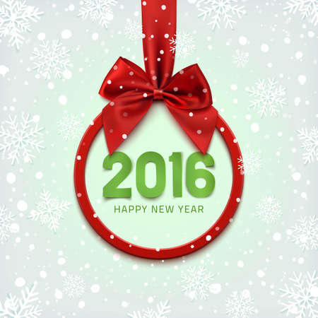 year: Happy New Year 2016 round banner with red ribbon and bow, on winter background with snow and snowflakes. Christmas tree decoration. Greeting card template. Illustration