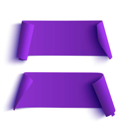 on a white background: Two curved, purple banners isolated on white background.