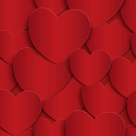 unending: Seamless pattern with red paper hearts. Vector illustration. Illustration