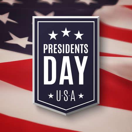 dia: Presidentes fondo al día. Banner en la parte superior de la bandera estadounidense. Ilustración del vector.