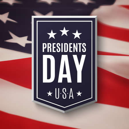 elections: Presidents day background. Banner on top of American flag. Vector illustration.