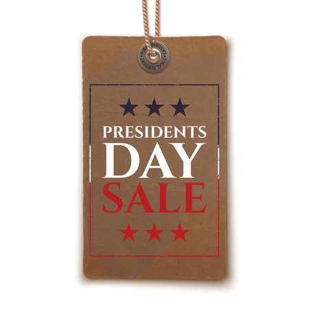 president's: Presidents Day sale background. Vintage, realistic price tag isolated on white background. Vector illustration.