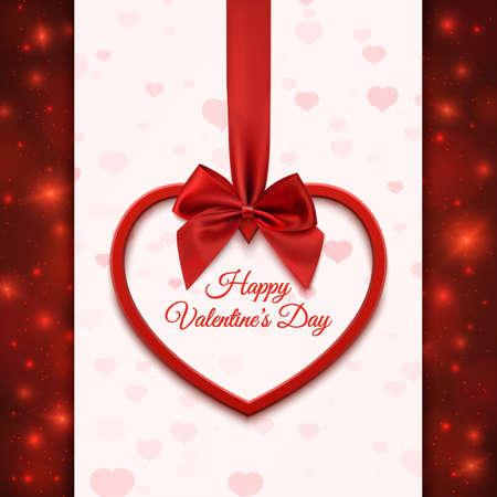 Happy Valentines Tag Grußkartenvorlage. Rotes Herz mit rotem Band und Bogen, auf abstrakten Hintergrund mit Herzen und Partikeln. Illustration.
