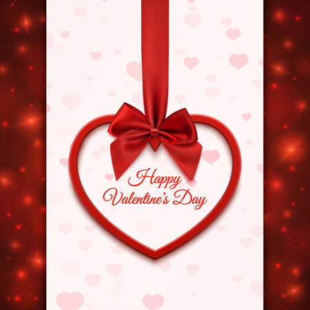 Happy Valentines day greeting card template. Red heart with red ribbon and bow, on abstract background with hearts and particles. illustration. Vettoriali