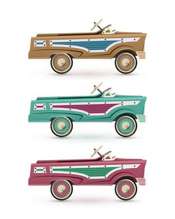 voyage vintage: Ensemble de trois vintage, voitures à pédales de jouet, isolé sur fond blanc. illustration.