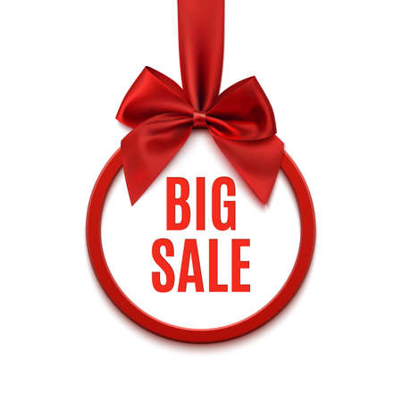 Big sale, round with red ribbon and bow, isolated on white background. illustration.