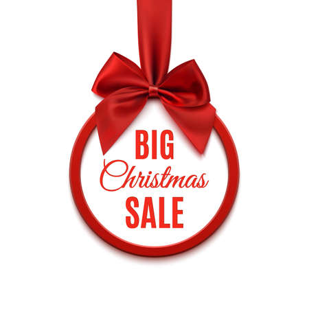 Big Christmas sale, round banner with red ribbon and bow, isolated on white background. Vector illustration. Vettoriali