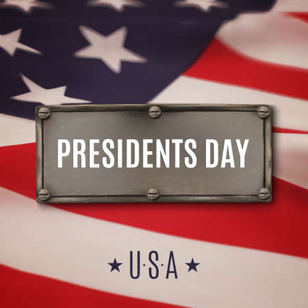 president's: Presidents day background. Steel banner on top of American flag. Vector illustration.