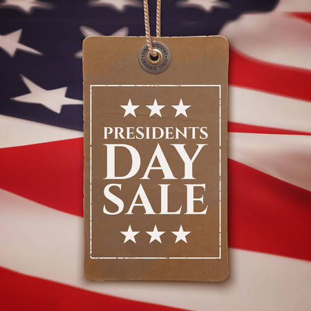 Presidents Day sale background. Vintage, realistic price tag on top of American flag. Vector illustration.