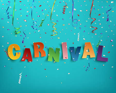 Colorful handmade typographic word carnival on background with ribbons and confetti. Poster, flyer or brochure template. Vector illustration. Stock Illustratie