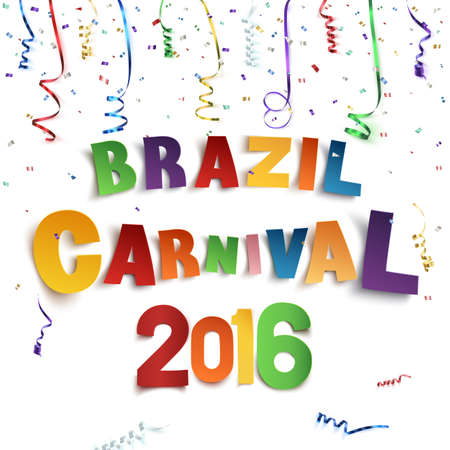 background banner: Brazil carnival background with confetti and colorful ribbons on white background. Vector illustration.
