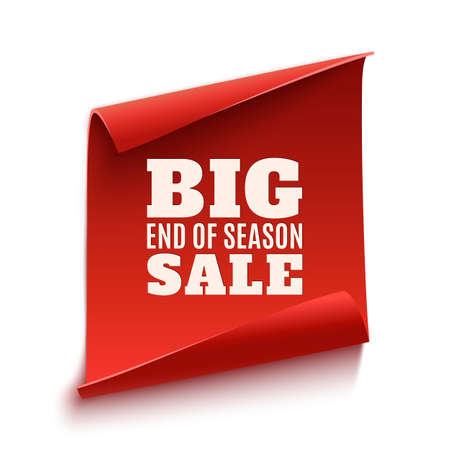Big end of season sale poster. Red, curved, paper banner isolated on white background. Vector illustration. Ilustracja