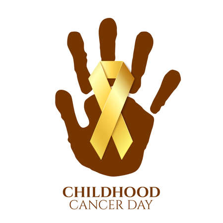 childhood cancer: Childhood cancer day golden ribbon on top childs hand print isolated on white background. Vector illustration. Illustration