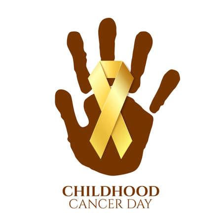infancia: día el cáncer infantil cinta de oro en la parte superior impresión de la mano del niño aislado en el fondo blanco. Ilustración del vector.