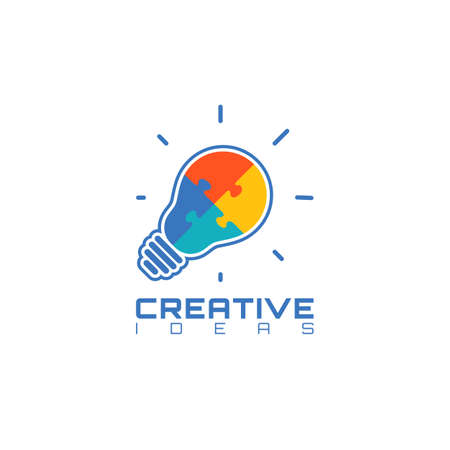 business puzzle: Light bulb with jigsaw puzzle pieces inside. Creative ideas icon template. Vector illustration. Illustration