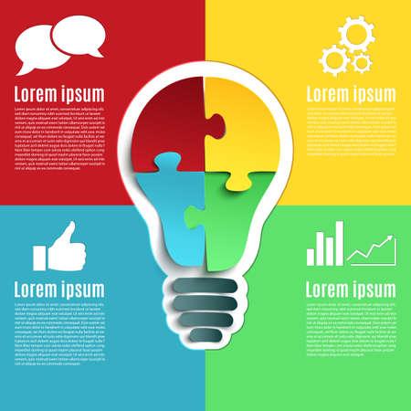 piezas de rompecabezas: idea brillante, la infografía conceptual creativo con bulbo y cuatro piezas de puzzle. Ilustración del vector.
