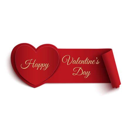 14th: Happy Valentines Day banner isolated on white background. Vector illustration.