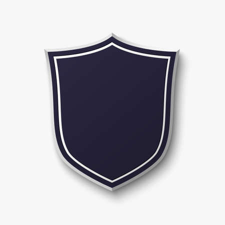 Blank blue shield isolated on white background. Simple, empty banner. Vector illustration.