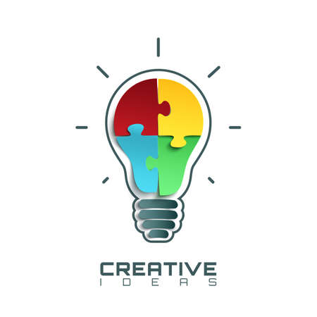 conceptual bulb: Light bulb icon with jigsaw puzzle pieces inside. Conceptual logo template. Illustration