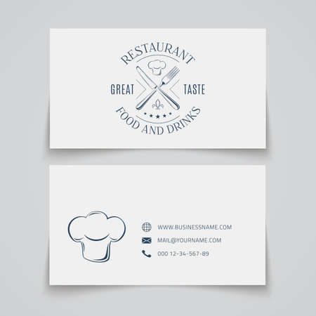 restaurant bar: Business card template with logo for restaurant, cafe, bar or fast food.