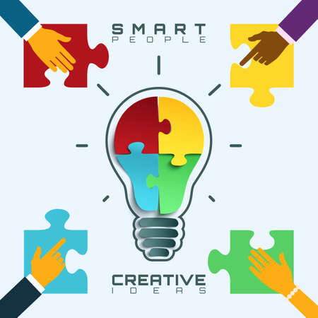 conceptual bulb: Light bulb icon with jigsaw puzzle pieces inside. Smart people, bright ideas conceptual business background.