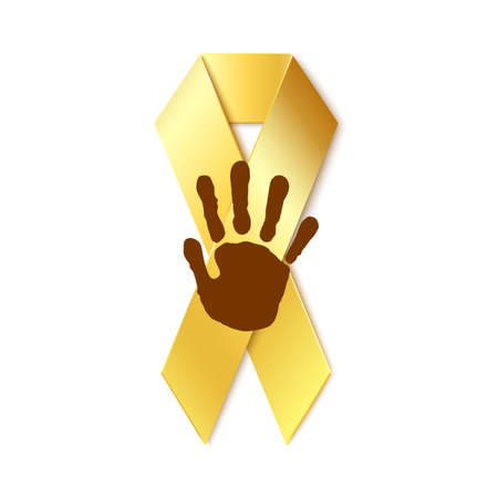 Childhood cancer golden ribbon with childs hand print on top isolated on white background. Vector illustration. Vettoriali