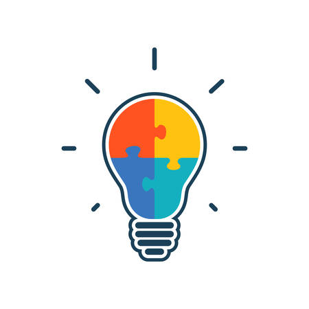 Simple flat light bulb icon with jigsaw puzzle pieces inside. Vector illustration. 矢量图像