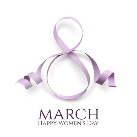 3 月 8 日国際女性の日の背景。グリーティング カード テンプレート。ベクトルの図。