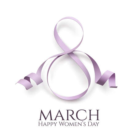 March 8 international womens day background. Greeting card template. Vector illustration. Ilustração