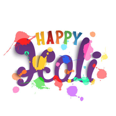 rang: Happy Holi, handmade calligraphic typeface isolated on white background. Template for Indian Holi festival poster. Vector illustration.